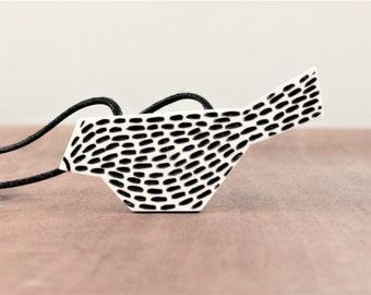 Geometric bird necklace, graphic animal pendant, minimalist polymer clay jewelry