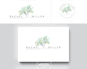 watercolor big sketchy tree gold foil photography businesscards  feminine branding- logo Identity for Children and family photographer