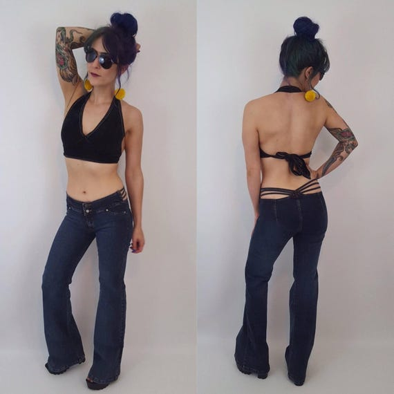 Size Small Vintage 90s Low Waisted Bell Bottom Jeans - Navy Blue Wash 1990s Stretchy Denim - Strappy Back Women's Flared Jeans Fashion