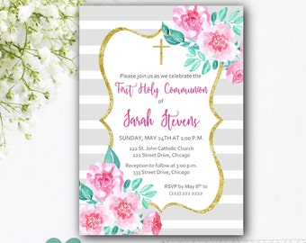 Girl Communion Invitation - Girl First Communion Invitation - Floral Communion Invitation - Flower Watercolor Invitation