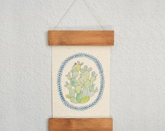 Wooden Rail Art Print on Handmade Paper - Cactus Art Print - Home Decor - Cactus Wall Art - Succulent Art