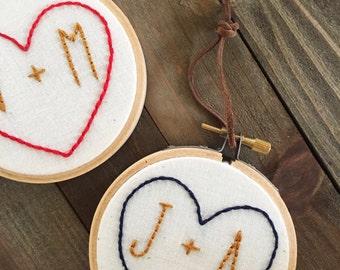 Embroidery Hoop Art/Wedding Gift/Anniversary Gift/Custom Embroidery/Custom Wall Hanging/Hand Embroidery/Heart With Initials/Embroidery Art