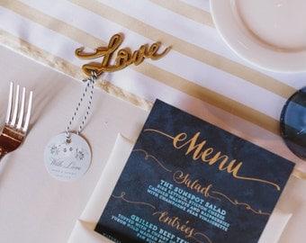 Wedding Menu Cards - Printable Modern Watercolor Menus - Custom Color