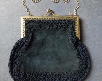 """Elegant Victorian Style Vintage Blue Suede Leather Purse. Made in Italy by """"Mister Simon Ernest."""" Perfect for a Victorian Costume Accessory!"""