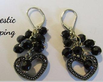 Heart Earrings, Marcasite Heart Earrings, Open Heart Earrings,  Silver Heart Earrings, Vintage Dangle Heart, Goth Earrings, Free US Shipping