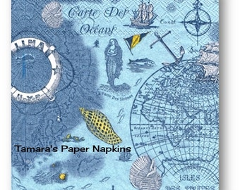 4 Decoupage Napkins, Craft Paper Napkins, CARTE Des OCEANS BLUE Vintage 33cm 13 Inch. 2000 Designs for Papercraft, Visual Arts and Collage