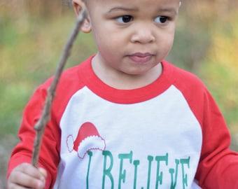 Boys Christmas Shirt, I Believe Shirt, Raglan Santa Shirt, Santa Shirt, Christmas Shirt For Toddler Boys, Toddler Boy Christmas Shirt
