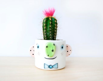 Ceramic succulent planter with face, Cute Ceramic face planter planter, Pottery plant pot with face, Ceramics & pottery, Flower plant pot