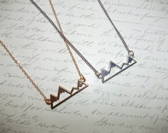 Mountain silhouette necklace in gold or silver