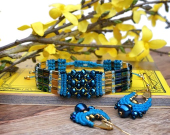 Woven cuff bracelet - Micro macrame and miyuki tila japanese seed beads - Turquoise midnight blue and gold plated - Gift for her - Boho chic