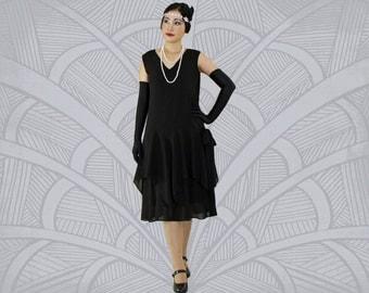 Black 1920s dress  with handkerchief skirt, black 20s dress, black Great Gatsby dress, black Charleston dress, Downton Abbey dress