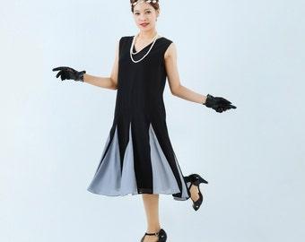 Black flapper dress with grey details on skirt, black Great Gatsby dress, black Charleston dress, black 20s flapper dress, Miss Fisher dress