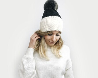 Double Brim Hat, Knit Slouchy Beanie, Two Tone ⨯ The Savante ⨯ in IVORY + CHARCOAL with black fur pom