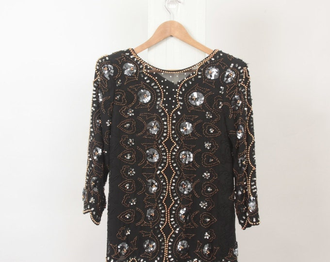 SEQUIN Metallic BEADED Flower Black Embellished Womens M Medium Bronze Silver Diamante 80s Pearl Vintage Glam Party Sheer Blouse Top