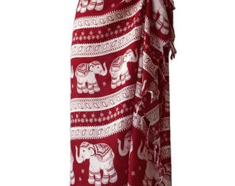 Elephant Beach Pool Wrap Pareo Sarong Swimsuit Wear Cover Large Scarf Shawl Gypsy Hippie Boho Women E03 Dark Red