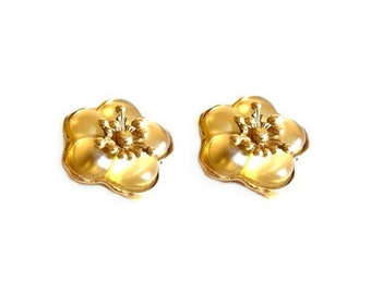 KENZO ~ Authentic Vintage Gold Plated Flowers Earrings Clip On