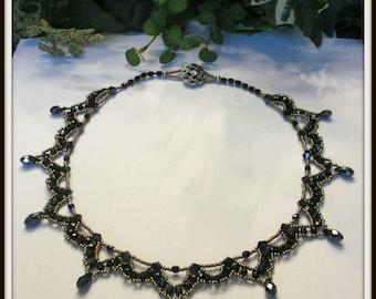 BLACK LACE Beadwoven Czech Glass Necklace, Beaded Crystals Necklace, Black Beaded Necklace, Vintage Style necklace, Handmade, Ravengirl