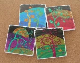 Set of 4 Tumbled Marble Tile Coasters - Magic Trees