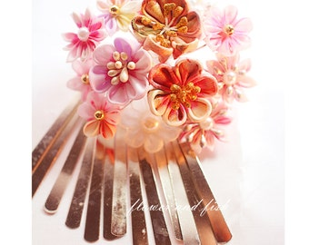 pink wedding-bridal hair flower -bridal headpiece- bridal hair stick, wedding hair pin, bridal hair flower, wedding Headpiece