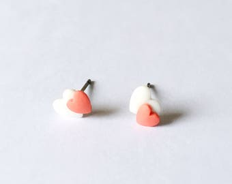 Two Little Hearts Earrings - Ceramic earrings - Post earrings - Stud earrings - Red earrings - Heart earrings - Clay earrings - Red White