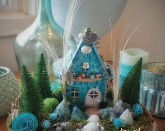 Miniature handcrafted fairy land for your home. Whimsy and wonder for your mantle piece/shelf. ready to ship. indoor fairy garden