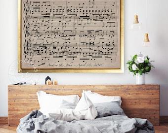 Music Sheets Print, Paper Anniversary Gift, Music Notes Art, Custom Song Music Sheets by RockinCanvas