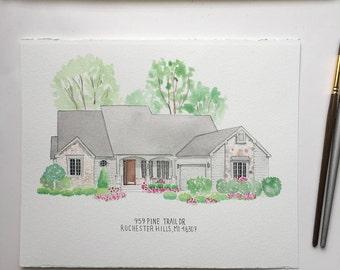 5x7 Custom house watercolor, custom home painting