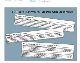 EYFS Early Years Outcomes Next Step Notes - childcare / teaching resource - childminders -  print yourself - instant download