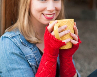 Red Lace Fingerless Mitts