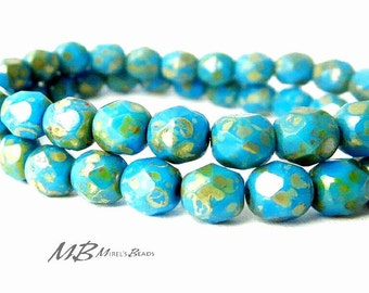 25 6mm Sky Blue Picasso Faceted Glass, Czech Fire Polished