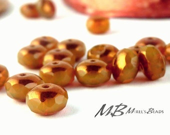 9x6mm Ivory with Bronze Finish Rondelles, Caramel Faceted Rondelle, 12 pcs Czech Glass, Puffy Donut Beads