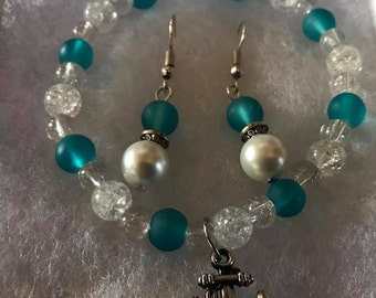 Anchors Away: Teal Frosted Glass Bracelet & Earring Set