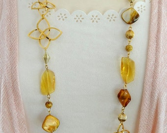 Long Beaded Necklace, Long Yellow Necklace, Amber Beaded Necklace, Yellow Boho Necklace, Flapper Necklace, Boho Necklace, Vintage Necklace