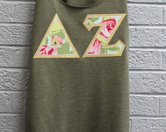 Delta Zeta Olive Racerback Tank With Tumble Rose Print On Metallic Gold (223c)