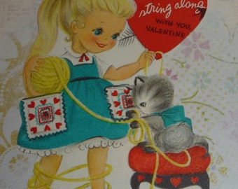 Adorable Blond -Haired Girl With Kitten and Yarn Vintage Hallmark Valentine Card