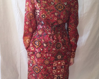 Vintage 70s Belted Dress with Scarf