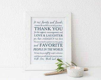 SALE Navy Wedding Thank You Sign, Printable Wedding Sign, 8x10 Wedding Signs, Custom Thank You Sign, Digital File, Choose Your Color