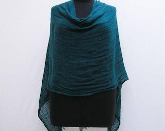 Teal poncho, blue poncho, green poncho, teal wrap, blue wrap, green wrap, asymmetrical poncho wrap, teal shawl, teal capelet, blue shawl