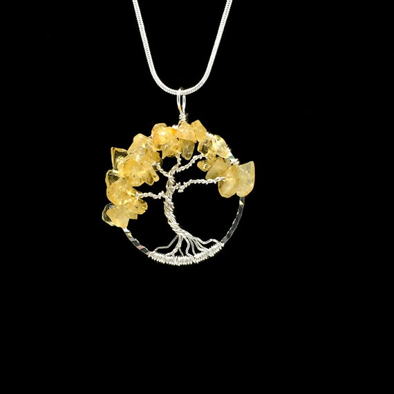 Citrine tree of life necklace pendant november birthstone for What is the meaning of the tree of life jewelry