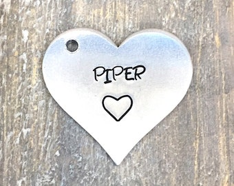 Heart Dog Tag- Hand Stamped Pet ID Tag - Personalized