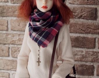 Plaid shawl for SD 1/3 BJD