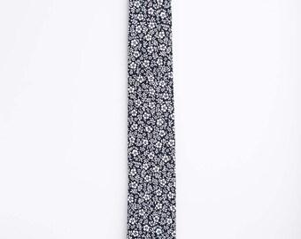 Navy Floral Tie, Navy Floral, Japanese Floral Tie, Japanese Tie, Japanese Cotton, Cotton Tie, Calico Floral Tie
