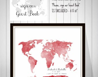 Wedding World Map Signature Guest Book, Bride and Groom Gift, Wedding Anniversary Gift, Watercolor Map Alternative Guest Book - 70577B