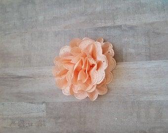 "4"" Peach Eyelet Flower, large flower puff, Peach fabric flower, Eyelet flower, DIY supplies, Headband flower, Flower Hair Clip, Peach flower"