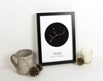 Virgo Constellation Print // Star Sign Zodiac Wall Art with Gold Glitter // Hand Glittered // Birthday Gift // Gift for Her // Virgo Print