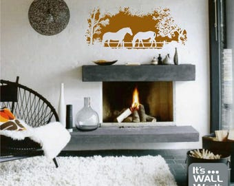 Horses in the Woods Silhouette Vinyl Wall Decal - Nature Scene Wall Sticker