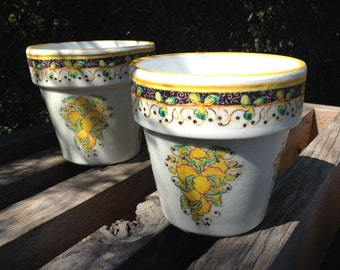 Set of Two Tuscan Kitchen Flower Planter Cache Pots, Rustic Mediterranean Decor, Blue & White w/ Yellow Lemons, Gardener