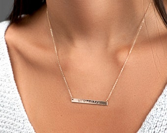 Personalized Bar Necklace, Girlfriend Gift, Custom Name Necklace, Roman Numeral Necklace, Anniversary Gift,  Personalized Gift Women [H440]