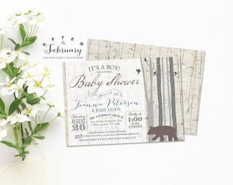 Bear Baby Shower Invitation Boy Baby Shower Invitation, Rustic Animal Woodland Baby Shower Invitation Boy Printable No.947BABY (V3)