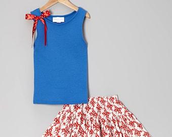 Sale - 2pc Carolina Kids Blue Ribbon Tank and Butterfly Twirl Skirt